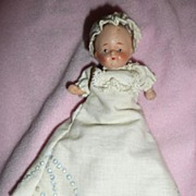 Occupied Japan RARE  Composition Tiny Baby  with Gorgeous Dress