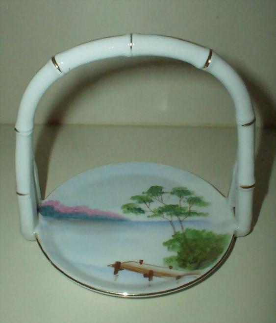 Unusual Flat Round  ARDALT  Porcelain Basket