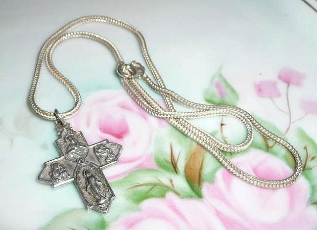Vintage Sterling  Silver Roman Catholic Four Way  Medal and Neck Chain