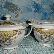 Creamer and Sugar with Lid dishes 'Victoria, China, Czechoslovakia'
