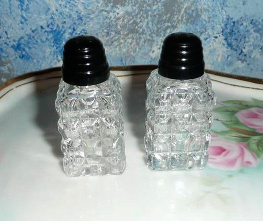 Pressed Clear Glass Set of  Individual Shakers