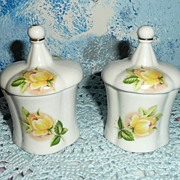 Twin Set of  Yellow Roses  Jars  with Lids