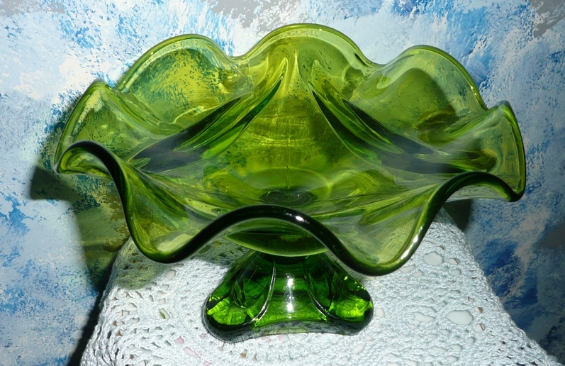 1960's Gorgeous Green Glass Pedestal Dish