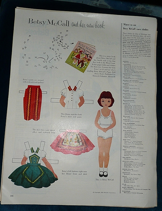 1954 McCall Magazine Betsy McCall and Her New Book  Paper Dolls