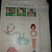 1954 McCall Magazine Betsy McCall 'Rolls Easter Eggs'  Paper Dolls