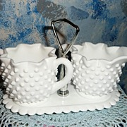Fenton Hobnail Milk Glass Set of Creamer, Sugar with Tray