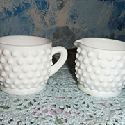 Fenton  Hobnail Pattern Individual  Milk Glass Set of Creamer and Sugar