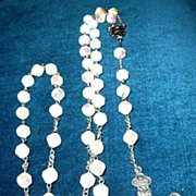 Beautiful Milk Glass Crystal Beads Roman Catholic Rosary
