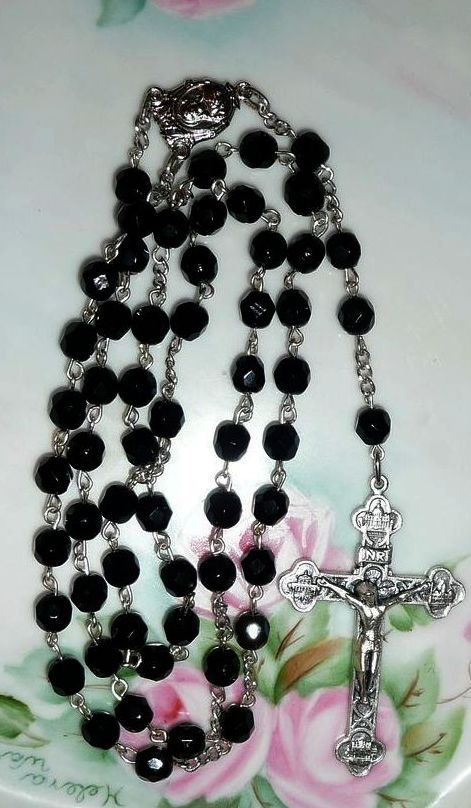 Black Jet Crystal Roman Catholic Rosary from Own family Estate