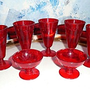 1950's Ruby Red  Play  Set of  Plastic Cups