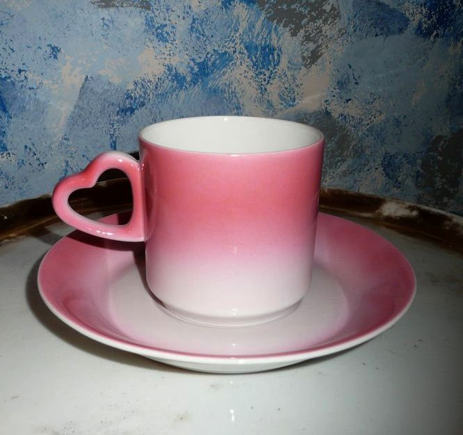 Pretty Pink  Bavaria Heart Coffee Cup Duo