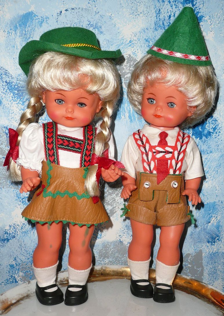 Vintage Two German Costume  Dressed  Boy & Girl Doll