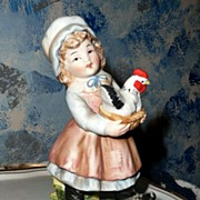 Lefton China Farm Little Girl  Bisque Figurine with her Black and White Hen