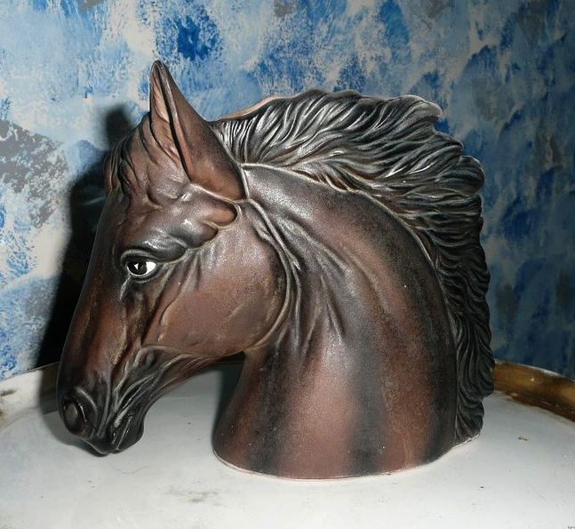 Beautiful Brown Horse Head Planter by Inarco