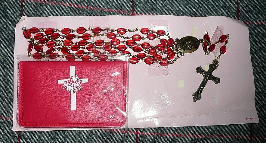 Vintage St. Therese Red Rosary New in Card with  Rosary Bag