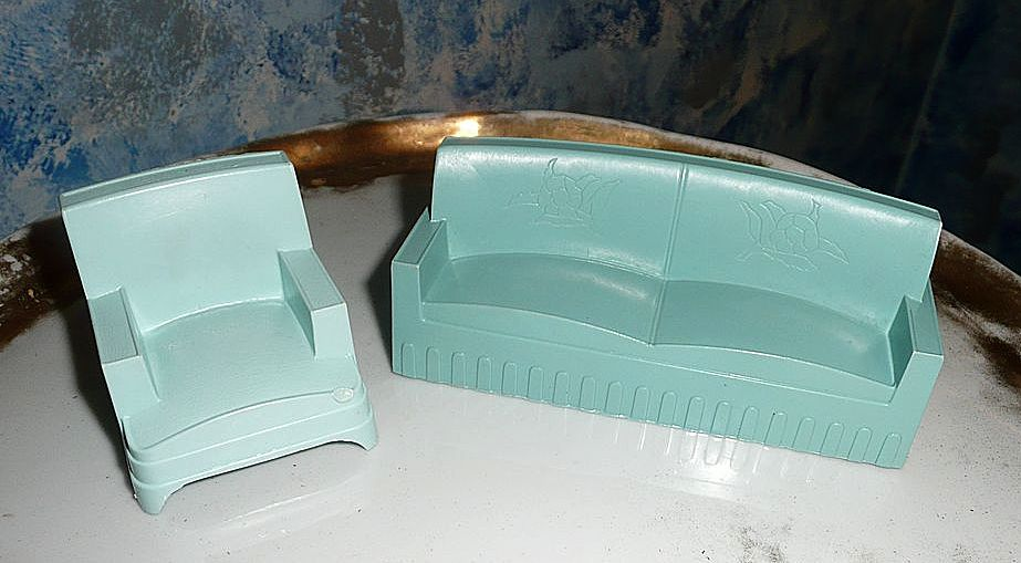 Doll House Furniture Set of Sofa and Lounge Chair