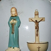 Vintage Baby Jesus and Crucifix Font