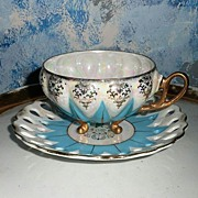Beautiful Lusterware Blue Cup Duo