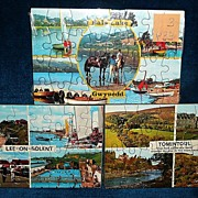 3 Vintage Color  Post-Card Puzzles of England