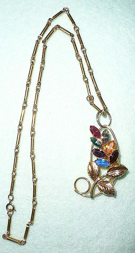Convertible  Gold Tone with Stones Pin and Necklace