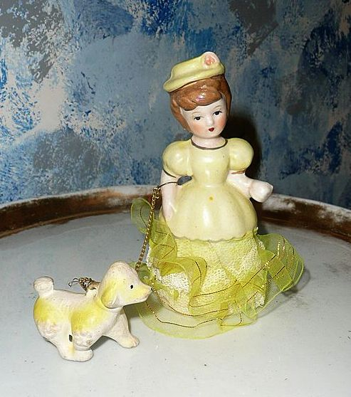 Vintage Sunny Yellow Girl with Dog on Leach