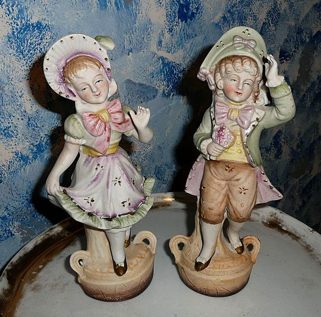Vintage Beautiful Pair of  Bisque Victorian Boy and Girl