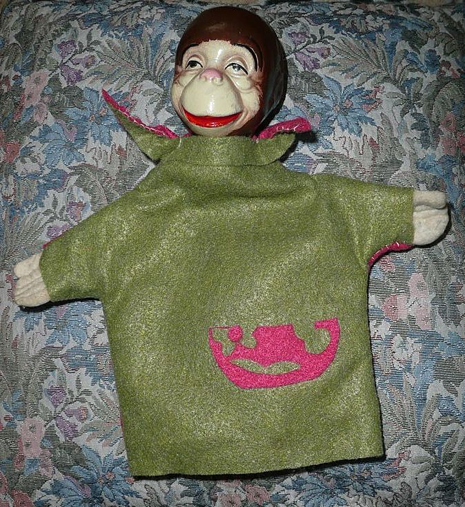Vintage Composition Monkey  Hand Puppet