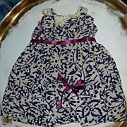 Vintage Home Made Navy Blue with Purple Ribbon  Dress for  Doll