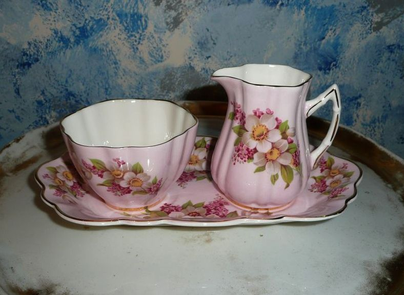 Beautiful Pink 'Old Royal Bone China' Set of Creamer and Saucer with Tray
