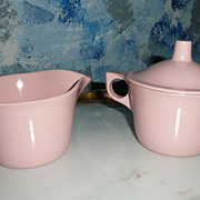 1970's MELMAC Plastic Set of  CReamer and Sugar with Lid