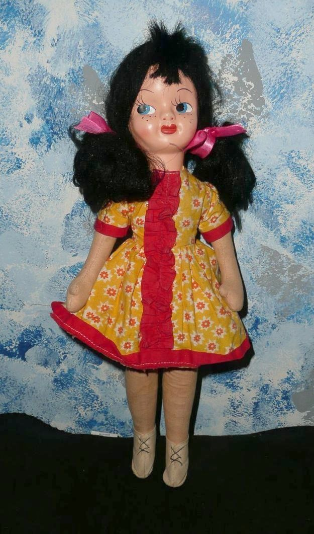 """Pretty 16"""" Black Hair Mask Face Doll From"""