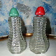Pressed Glass Set of Shakers with Colored Caps