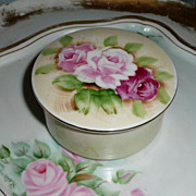 Pretty English Tea Roses  Porcelain Powder Box