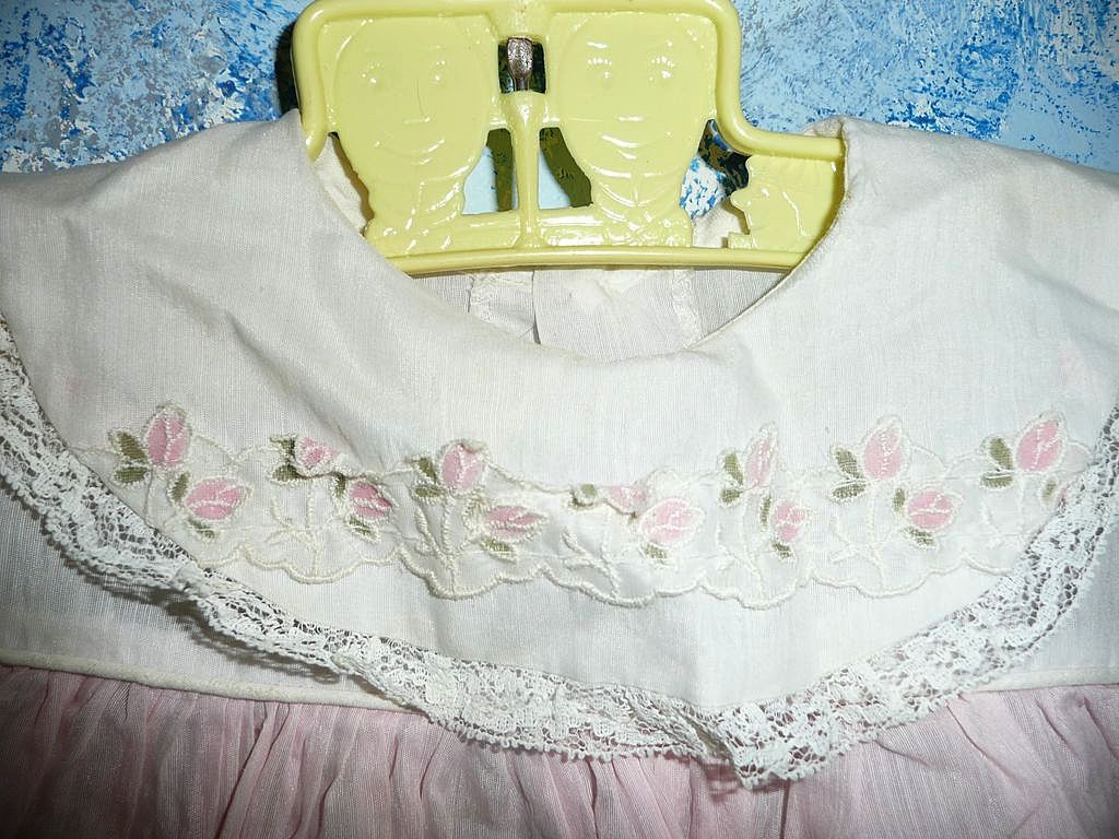 Vintage Pink/White Linen  Baby/Girl Doll Dress