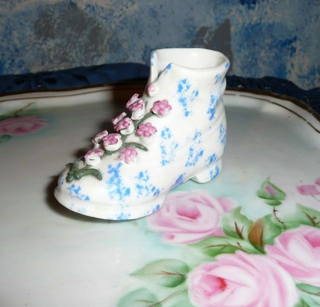 Pretty German Porcelain Boot with Flowers