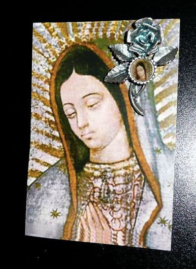 Beautiful Roman Catholic  Virgin of Guadalupe Rose Pin on Card
