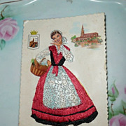1966 Original Embroidered Spanish Vascongadas Post Card