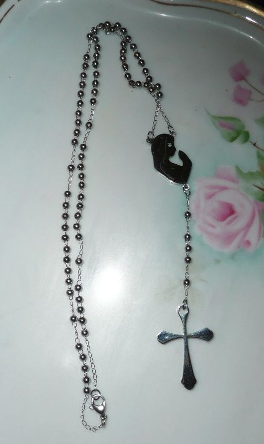 Sterling Steel Roman Catholic Rosary Necklace