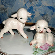 Lefton Pair of  White Color Baby Lambs - Red Tag Sale Item