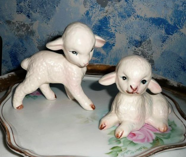 Lefton Pair of  White Color Baby Lambs