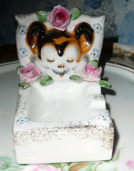 Sleepy Baby Tiger Old Ashtray New Pin Dish Cute!