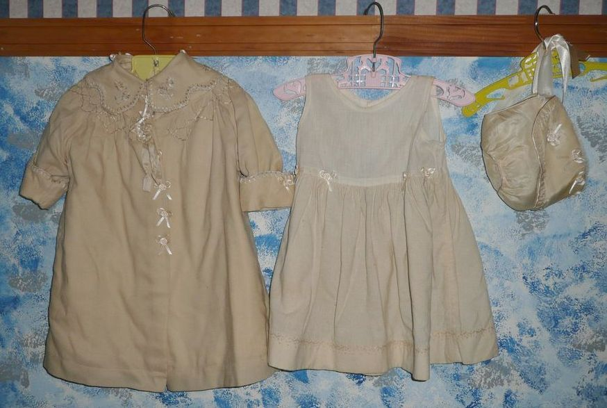 Vintage Baby Beige Coat Set with Bonnet
