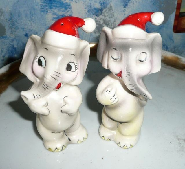 Vintage Funny Set of Christmas Elephant Shakers