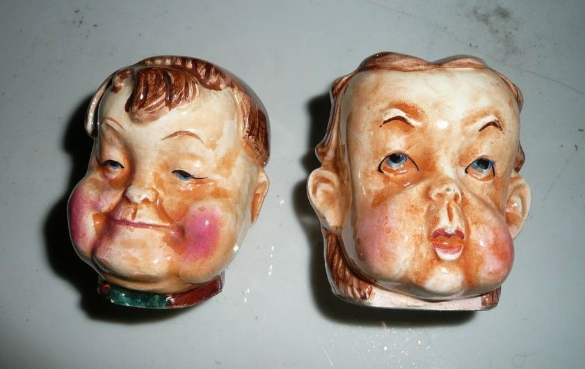 Vintage Set of Laurel  and Hardy Salt and Pepper Shakers