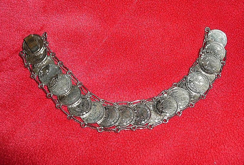 Silver Mexican Coins  Bracelet from the 1970's