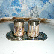 Vintage Mother Of Pearl  and Alpaca  Silver Set of Shakers with Tray