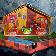 1960's Mattel Liddle Kiddles Kabin  Playhouse /Doll  Case + two Dolls