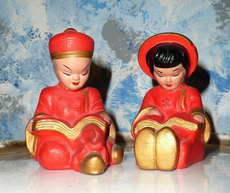 Vintage Pair of Chinese Boy and Girl Shakers
