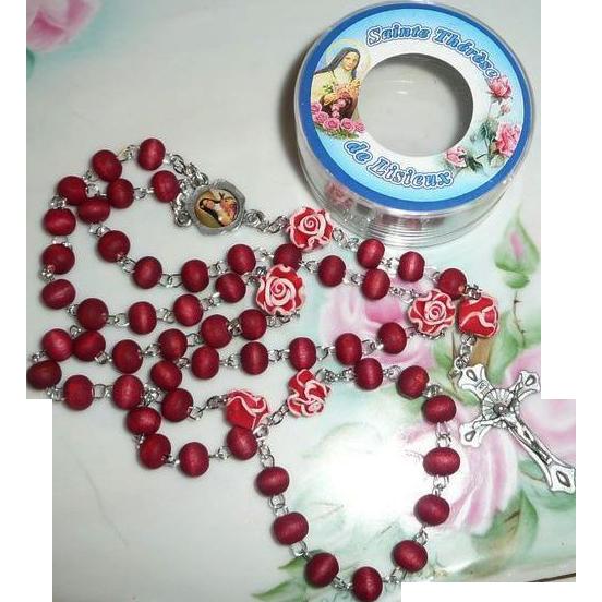 Vintag e 1980's Saint Therese de Lisieux  Roman Catholic  Rosary  Smell Roses