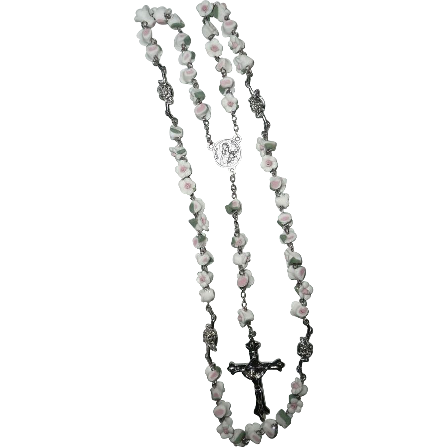 Vintage 1980's Roman Catholic Rosary St. Therese of Lisieux
